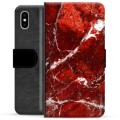 iPhone X / iPhone XS Premium Wallet Case - Red Marble
