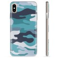 iPhone X / iPhone XS TPU Case - Blue Camouflage