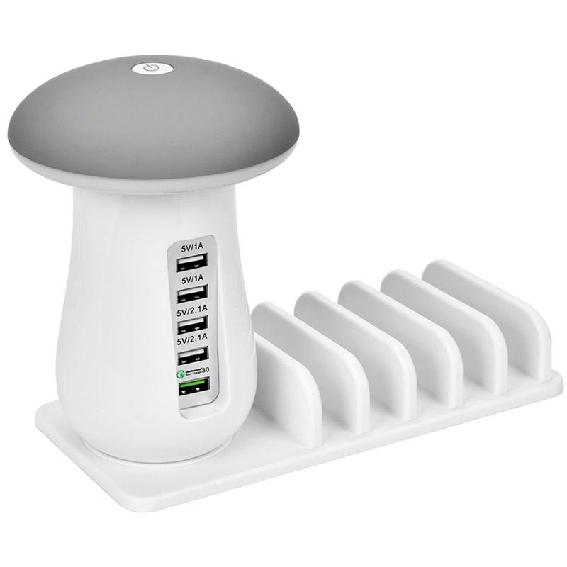 2-in-1 Qualcomm QC 3.0 Charging Station & Mushroom LED Lamp UD08