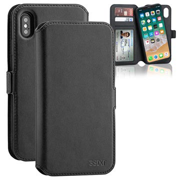 3Sixt NeoWallet 2-in-1 iPhone XS Leather Case - Black