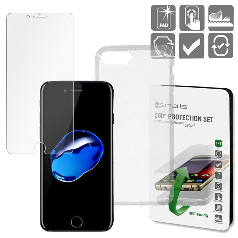 iPhone 7 Plus / iPhone 8 Plus 4smarts 360 Protection Set - Transparent