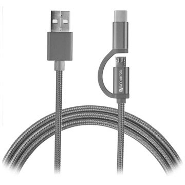 4smarts ComboCord Fabric MicroUSB & Type-C Cable - 2m - Grey