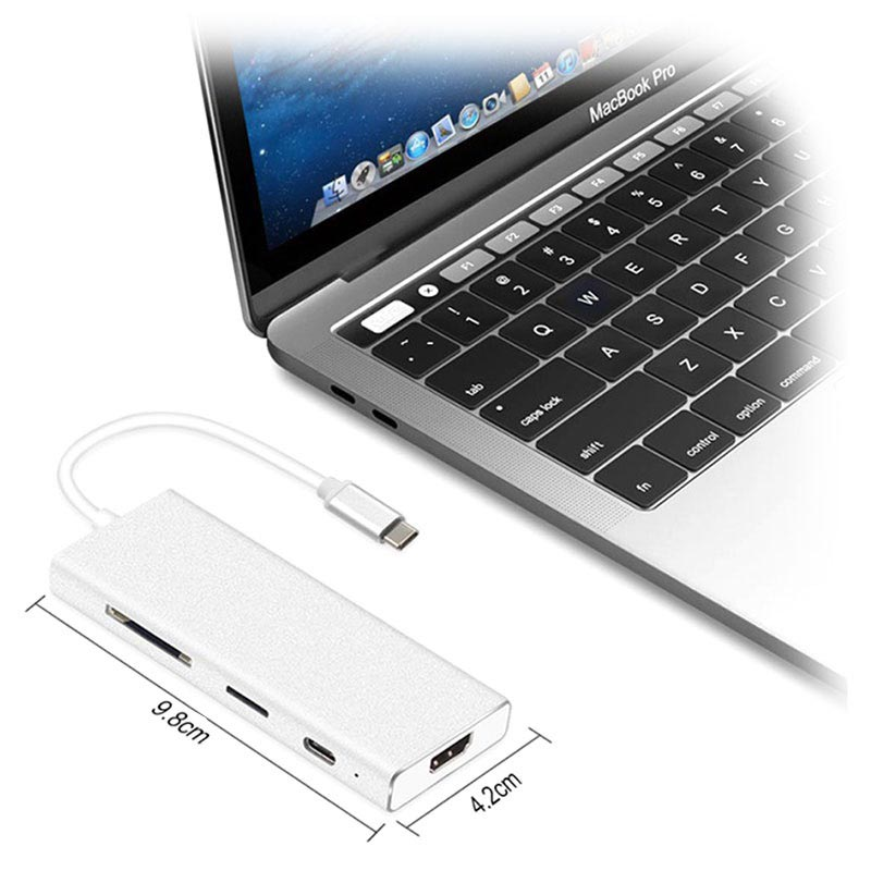 7-in-1 USB 3.1 Type-C Adapter - HDMI, USB 3.0, SD Card, Type-C
