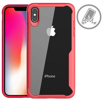Anti-Shock iPhone XS Max Hybrid Case - Red / Clear