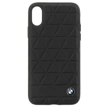 iPhone X BMW Signature Hexagon Leather Cover - Black