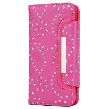 iPhone X / iPhone XS Bling Series Detachable Wallet Case - Hot Pink