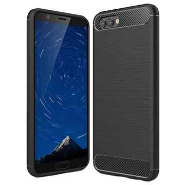 Huawei Honor View 10 Brushed TPU Case - Carbon Fiber - Black