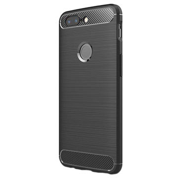 OnePlus 5T Brushed TPU Cover - Carbon Fiber - Black