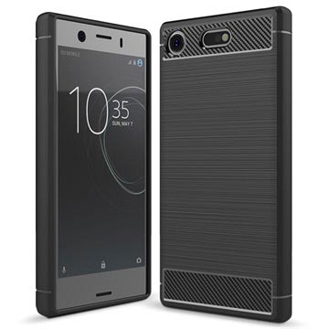 Sony Xperia XZ1 Compact Brushed TPU Case - Carbon Fibre - Black