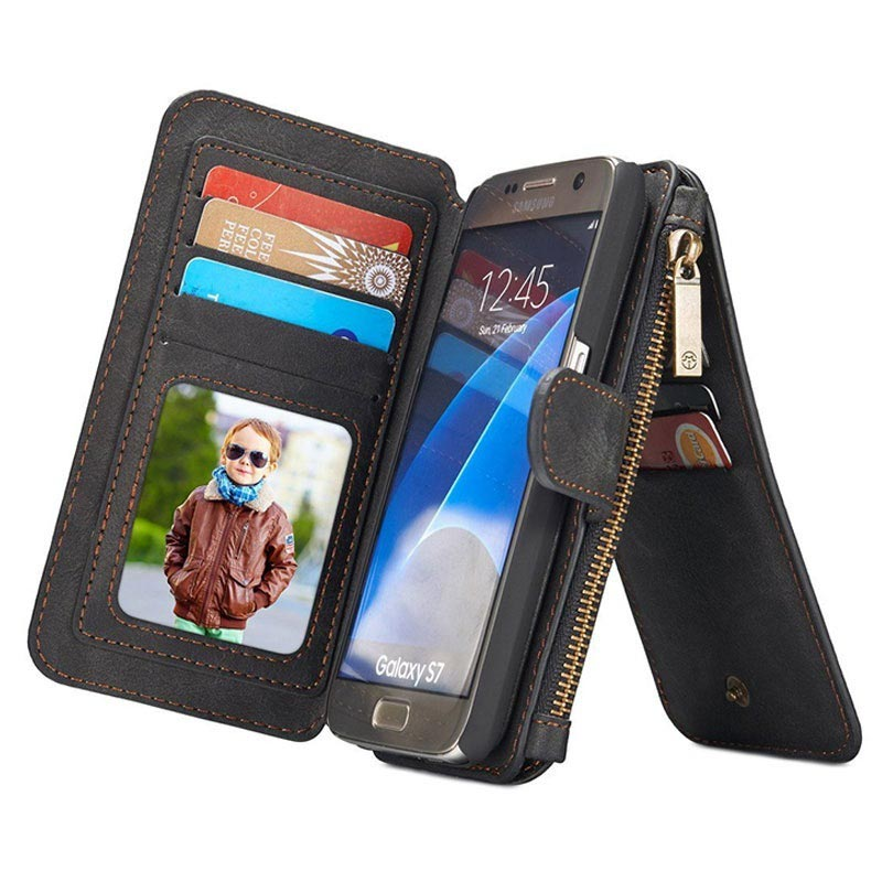 Samsung Galaxy S7 Caseme Multifunctional Wallet Leather Case - Black