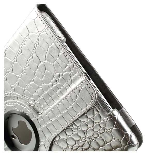 iPad Air Rotary Smart Leather Case - Crocodile - Silver