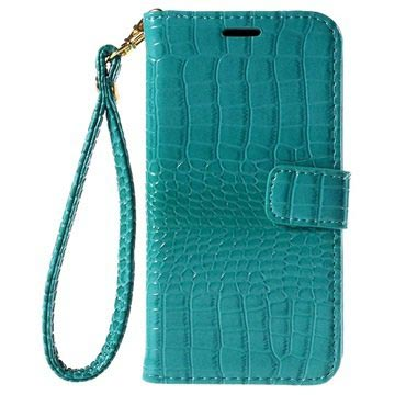 Samsung Galaxy J5 (2015) Crocodile Wallet Case - Cyan