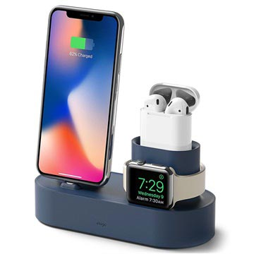 Elago Trio Charging Stand - iPhone, AirPods, Apple Watch - Blue