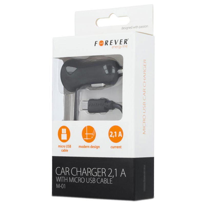Forever M-01 Car Charger with MicroUSB Spiral Cable - 2.1A - Black