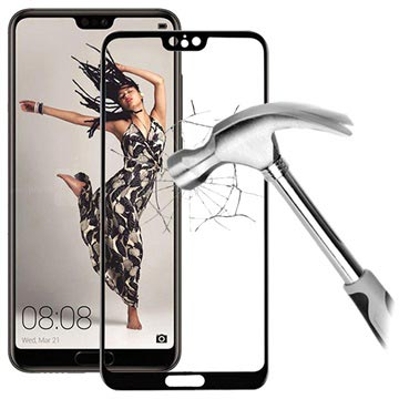 5D Full Size Huawei P20 Tempered Glass Screen Protector - Black