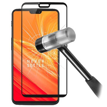 5D Full Size OnePlus 6 Tempered Glass Screen Protector - Black