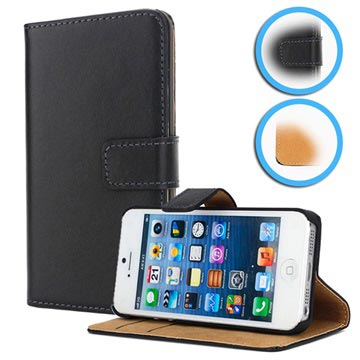 iPhone 5 / 5S / SE Wallet Leather Case - Black