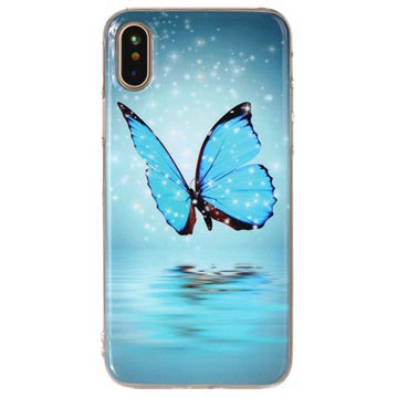 iPhone X / iPhone XS Glow in the Dark TPU Cover - Blue Butterfly
