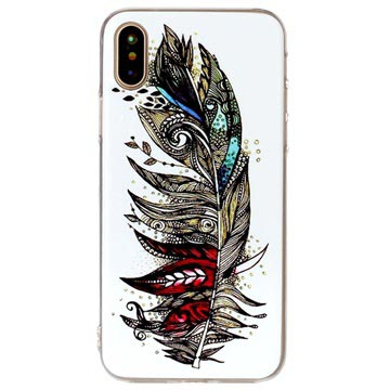 iPhone X / iPhone XS Glow in the Dark TPU Cover - Colorful Feather