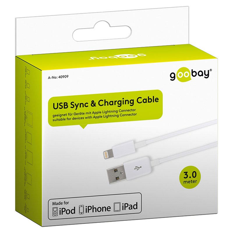 Goobay Charge&Sync Lightning Cable - 3m - White