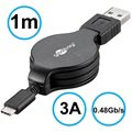 Goobay Retractable USB 2.0 / USB 3.1 Type-C Cable - Black