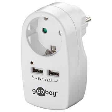 Goobay Safety Wall Socket with Dual USB Port - White