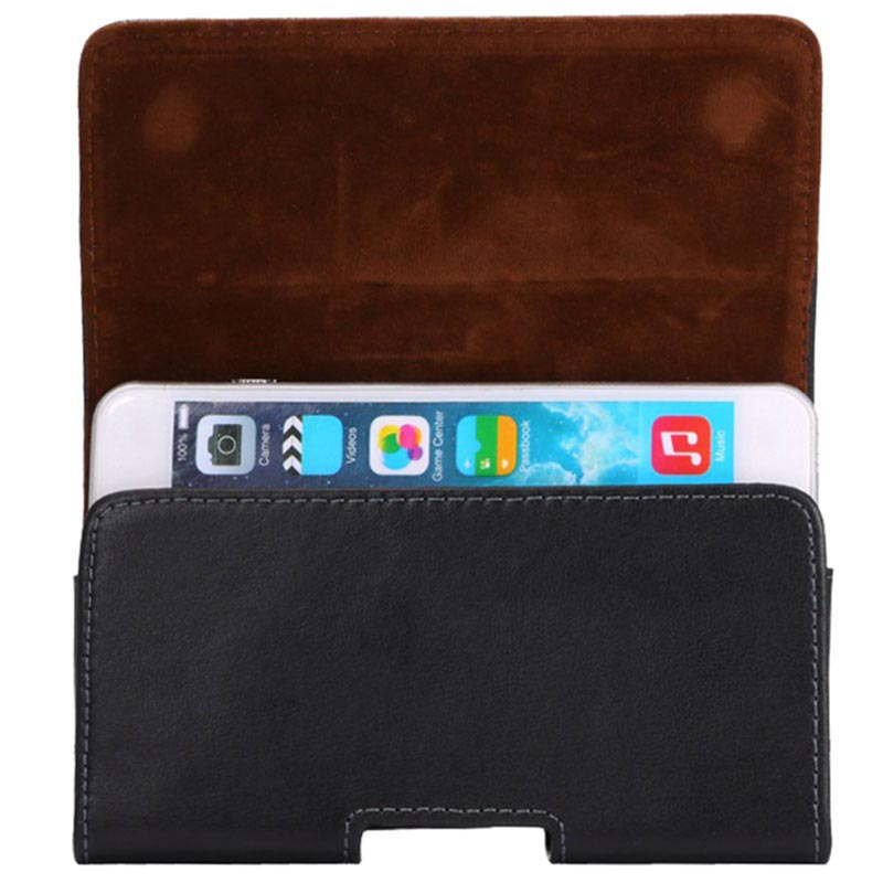 iPhone 6 Plus / 6S Plus Horizontal Holster Leather Case - Black
