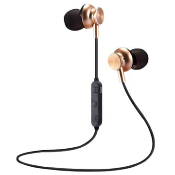 M6 Magnetic Bluetooth In-ear Wireless Headphones - Gold