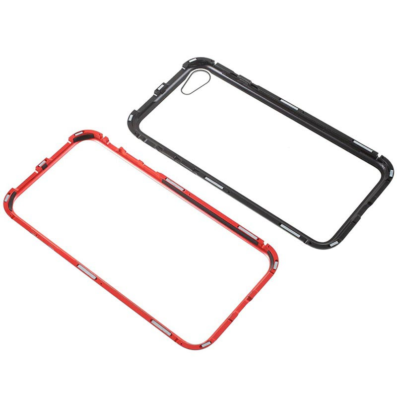 iPhone 7 / iPhone 8 Magnetic Case with Tempered Glass Back - Red / Black