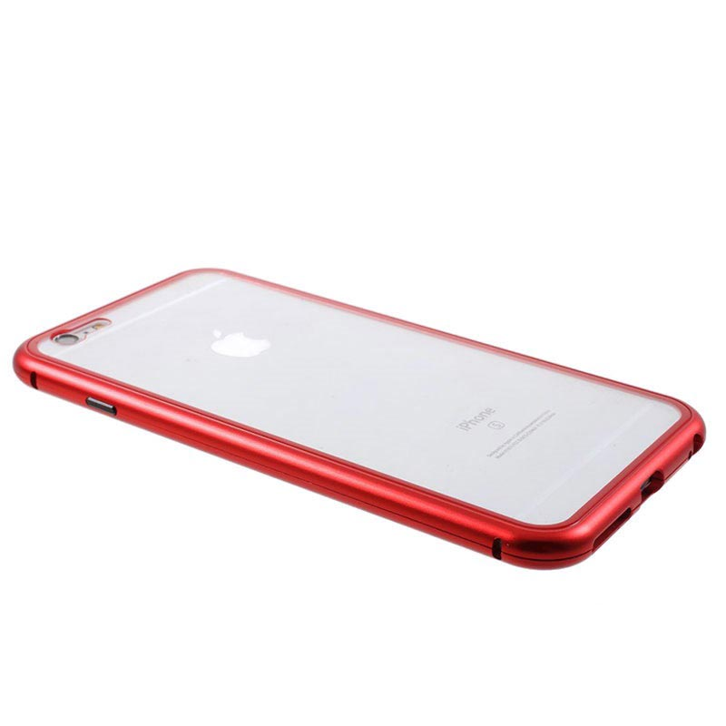 iPhone 6 Plus/6S Plus Magnetic Case with Tempered Glass Back - Red