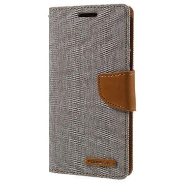 Samsung Galaxy S7 Mercury Goospery Canvas Diary Wallet Case - Grey