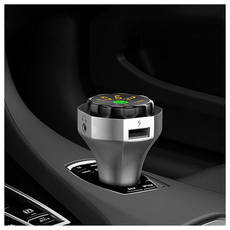 Multifunctional Car Charger & Bluetooth FM Transmitter AP06 - Silver