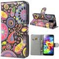 Samsung Galaxy S5 Wallet Leather Case - Colorful Flowers - Black