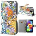 Samsung Galaxy S5 Style Series Wallet Leather Case - Colorful Flowers - White