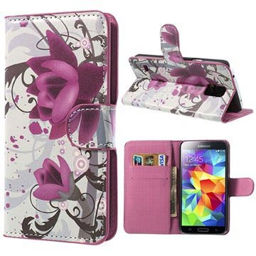 Samsung Galaxy S5 Style Series Wallet Leather Case - Elegant Lotus