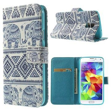 Samsung Galaxy S5 Wallet Case - Tribal Elephant