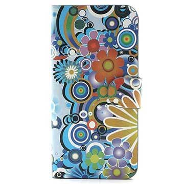 iPhone 5 / 5S / SE Wallet Case - Colorful Flowers - White