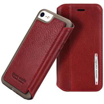 iPhone 7 / iPhone 8 Pierre Cardin Flip Leather Case - Wine Red
