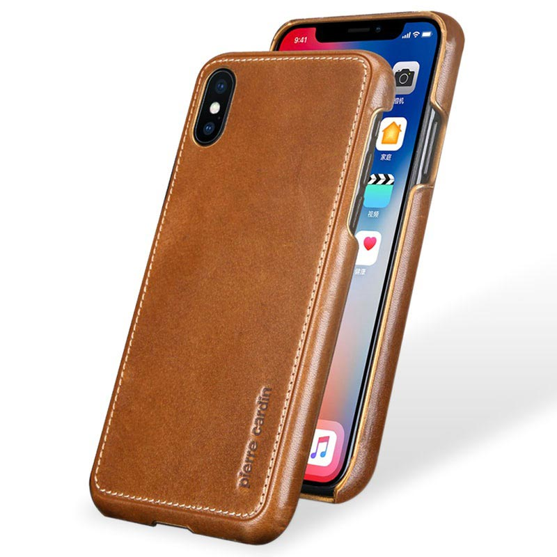 iPhone X Pierre Cardin Leather Coated Case - Brown