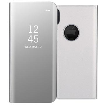 iPhone X / iPhone XS Luxury Series Mirror View Flip Case - Silver
