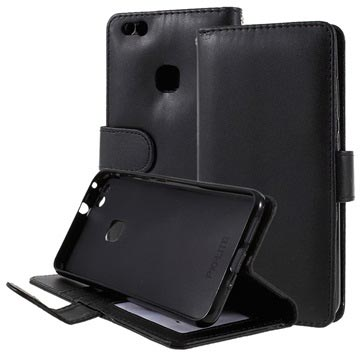 Huawei P10 Lite Premium Wallet Case with Stand Feature - Black