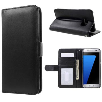 Samsung Galaxy S7 Edge Premium Wallet Case with Stand Feature - Black