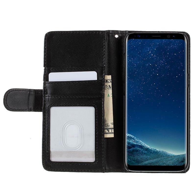 Samsung Galaxy S8 Premium Wallet Case with Stand Feature - Black