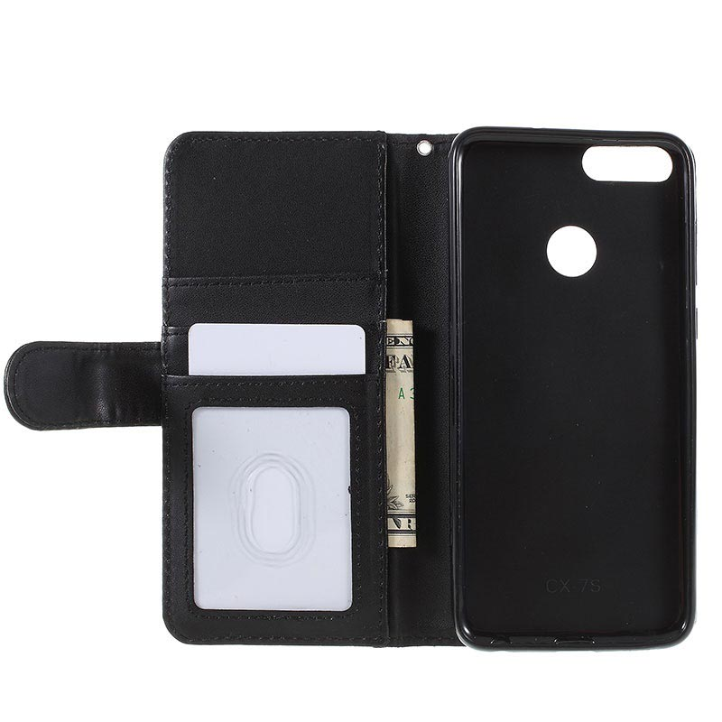 Huawei P Smart Premium Wallet Case with Kickstand Feature - Black