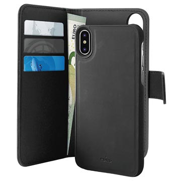 Puro 2-in-1 iPhone XS Max Magnetic Wallet Case - Black