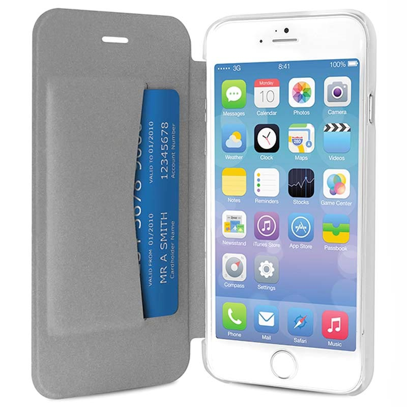 iPhone 6 Plus / 6S Plus Puro Booklet Crystal Leather Case - Silver