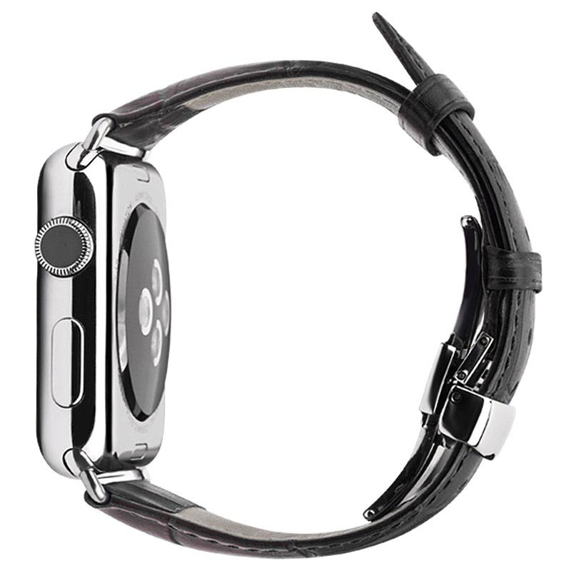 Apple Watch Series 5/4/3/2/1 Qialino Leather Wristband - 42mm, 44mm - Black