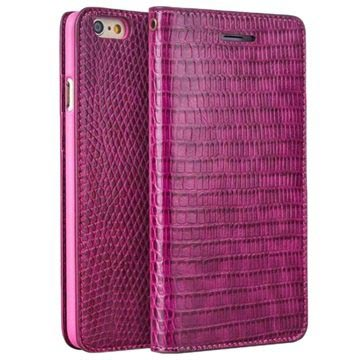 iPhone 6 / 6S Qialino Wallet Leather Case - Crocodile Skin - Hot Pink