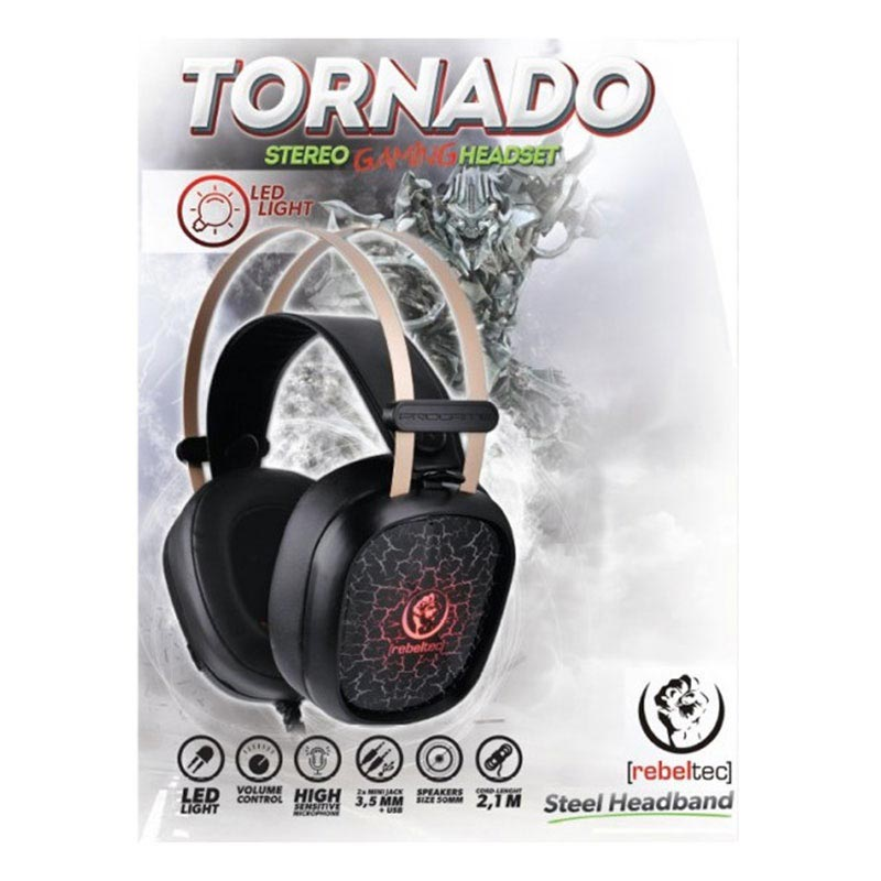 Rebeltec Tornado Wired LED Gaming Headset - Black