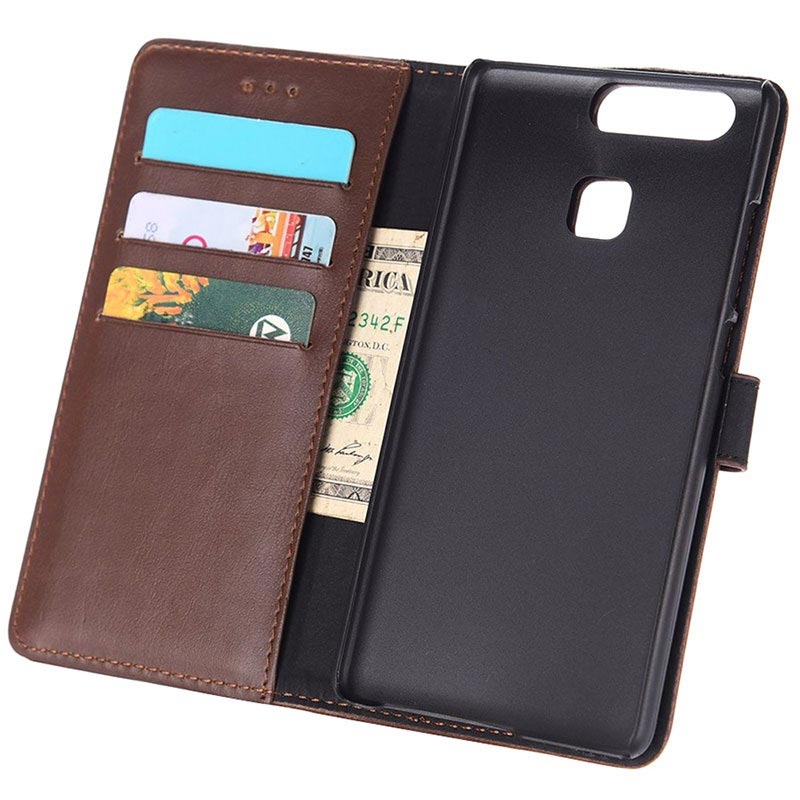 Huawei P9 Retro Wallet Case - Coffee